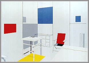 10 Mondrian´s study and bedroom nr. 7. N.Y.  120x171 cm. 1997. Akryl på lærred.j
